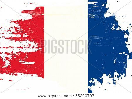 Scratched french Flag. A french flag with a grunge texture