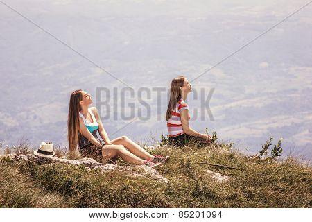 Girlsl enjoy in nature
