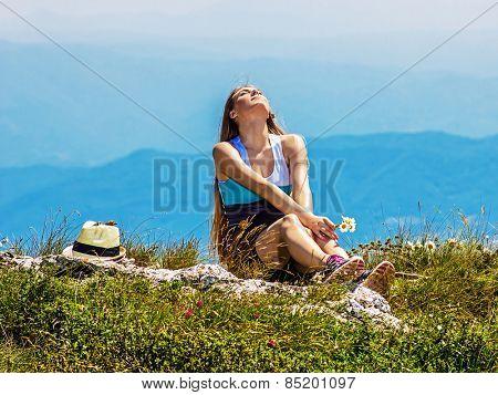 Girl enjoy in nature