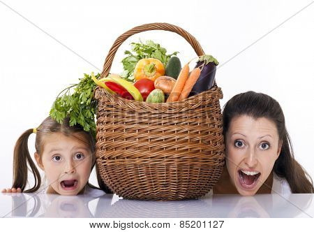 Mom and kid fun in kitchen
