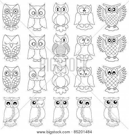 Twenty Funny Owls Black Outlines