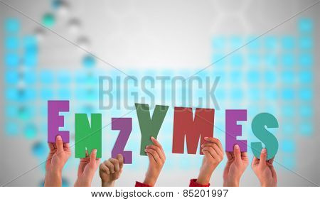 Hands holding up enzymes against blue periodic tablet with dna strand