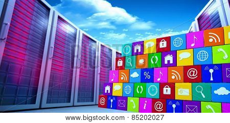 App wall against bright blue sky with clouds