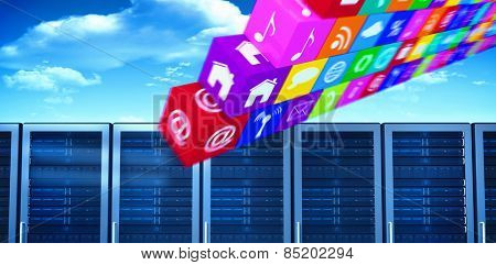 wall of apps against bright blue sky with clouds