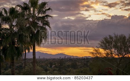 Phoneix, Arizona sunset high vantage point of the Valley of the sun, USA