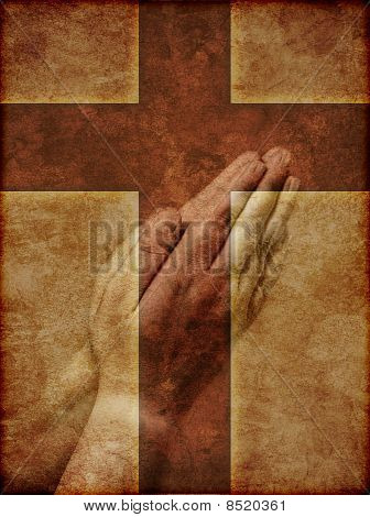 Praying Hands And Christian Cross