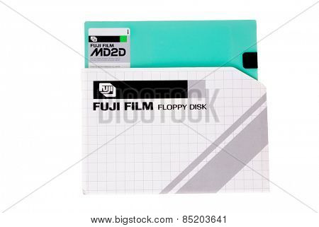 Hayward, CA - March 5, 2015: Fuji double sided, double density floppy disk in sleeve, an early computer storage media.