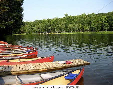 Canoes and Dock at Mt. Gretna Lake