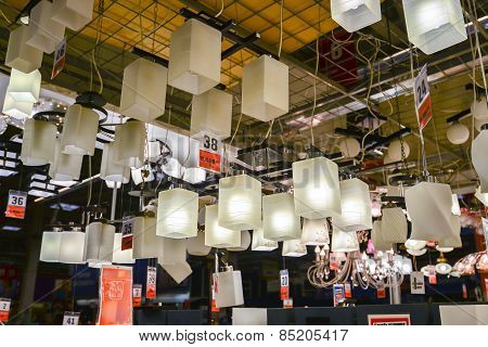 MOSCOW, RUSSIA - March 23, 2015: Chandeliers of the Leroy Merlin Store. Leroy Merlin is a French hom