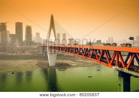 Chongqing, China cityscape on the Jialing River.