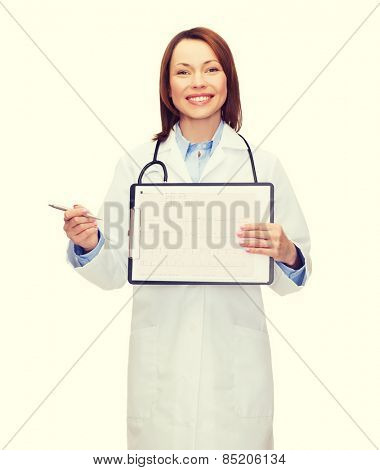 healthcare, medicine, advertisement and sale concept - smiling female doctor with stethoscope, clipboard and cardiogram