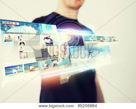 business, technology, internet and networking concept - man pressing button on virtual screen