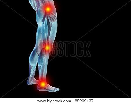 Conceptual 3D human man anatomy or health design, joint or articular pain, ache or injury isolated on black background, for medical, fitness, medicine, bone, care, hurt, osteoporosis arthritis or body