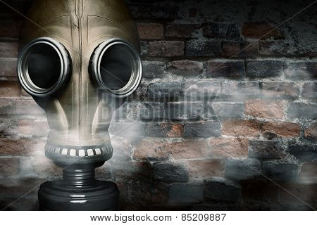 Gas mask shrouded in smoke