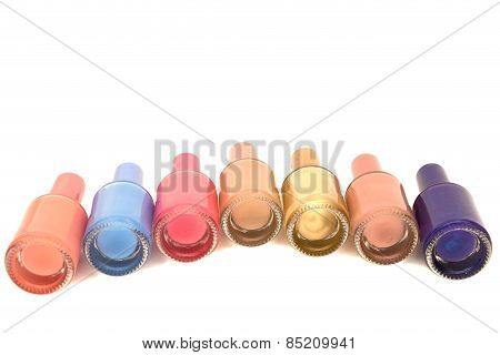 Nail Polish On Top On A White Background
