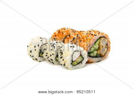 Round Rolls With Cucumber And Crab Horizontally Isolated Overwhite