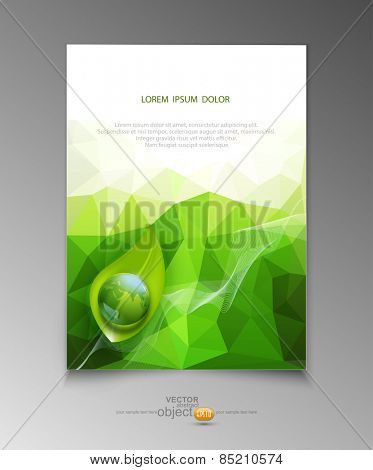 vector abstract template brochure for business with green triangles , leaves and  with a globe