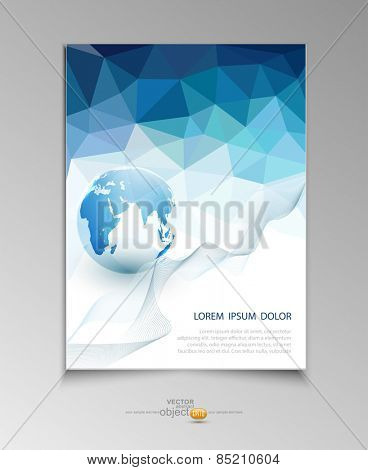 vector abstract template brochure for business with blue triangles and the globe