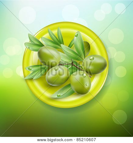 vector background with green olives on a green plate