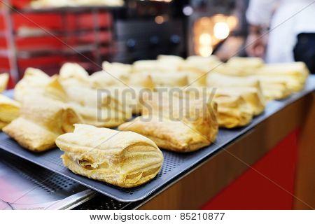 Closeup fresh puff pastry
