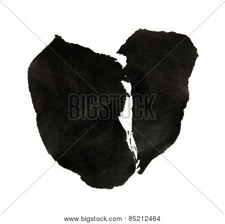 sumie (asian ink )style broken heart, isolated on white.