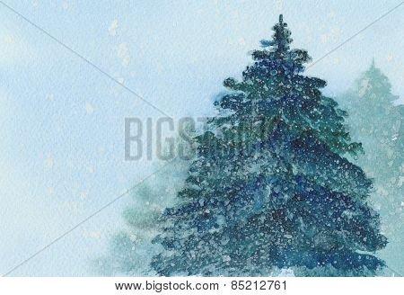 Christmas Spruce Tree In Falling Snow