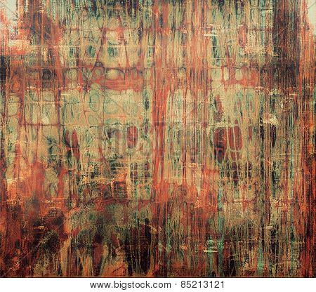 Art grunge vintage textured background. With different color patterns: brown; gray; green; red (orange)