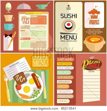 Flat design restaurant menu, sushi menu, breakfast menu, dessert menu, pizza and grill, web elements and icons for food.
