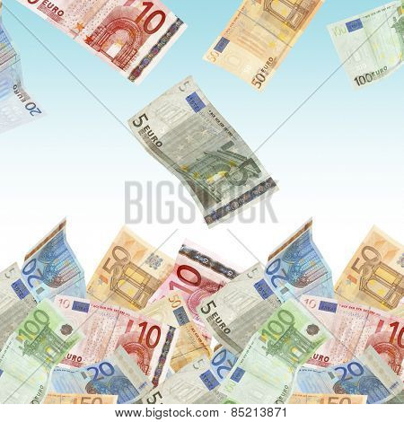 Flying Euro banknotes on light background