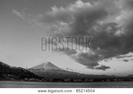 Amazing Mt. Fuji, Japan With The Star On The Sky At Lake Kawaguchi In The Early Morning Before The S