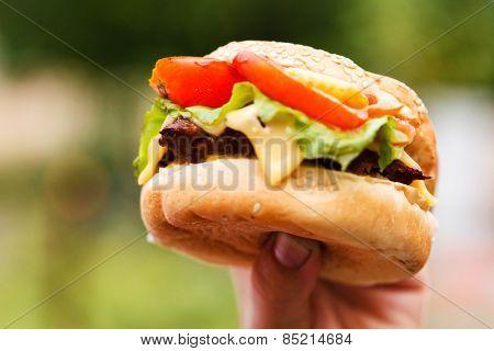 hand holding a hamburger
