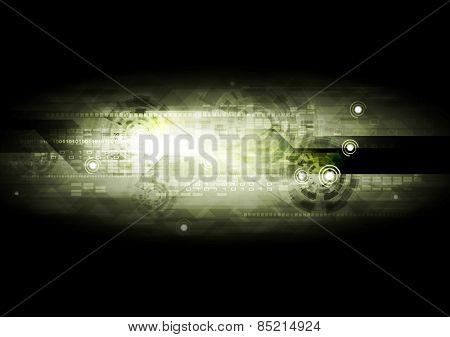 Dark green technology background. Vector design