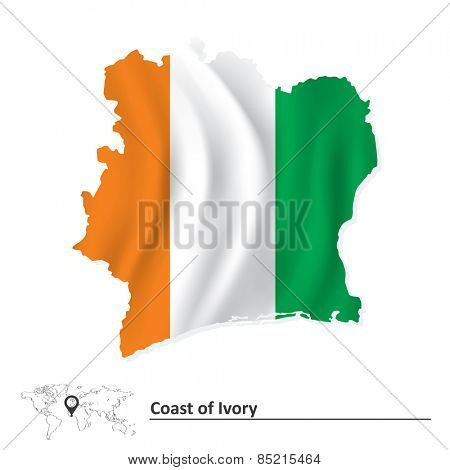 Map of Coast of Ivory with flag - vector illustration