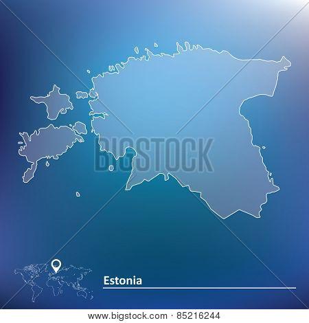 Map of Estonia - vector illustration
