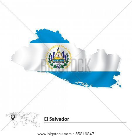 Map of El Salvador with flag - vector illustration