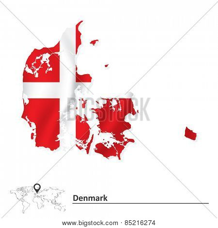 Map of Denmark with flag - vector illustration