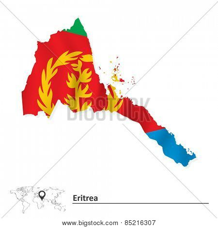 Map of Eritrea with flag - vector illustration
