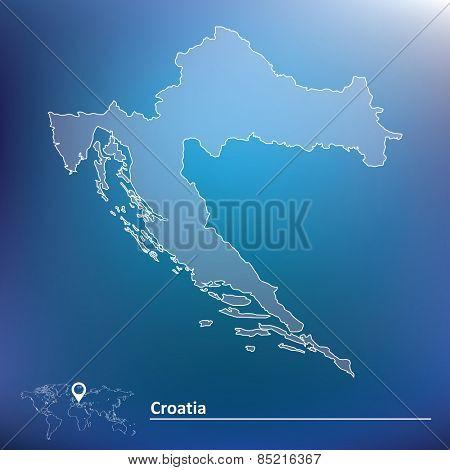 Map of Croatia - vector illustration