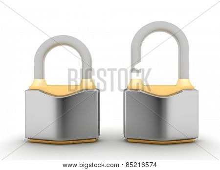 Chrome padlock. Security concept. 3d illustration on a white background