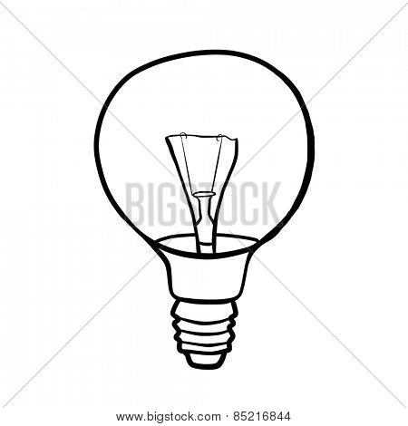 Round light bulb filament. Contour drawing.