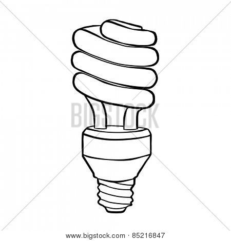 Spiral energy saving electric discharge lamp. Contour drawing.