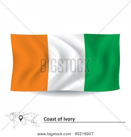 Flag of Coast of Ivory - vector illustration