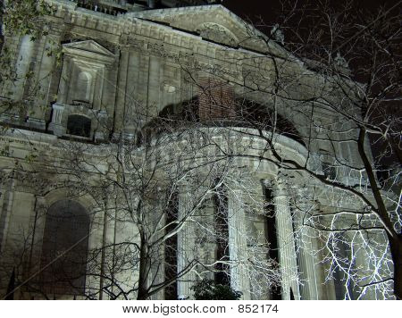Night shot of facade of St Paul's Cathedral, London