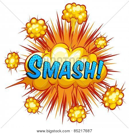 Word smash with cloud explosion background