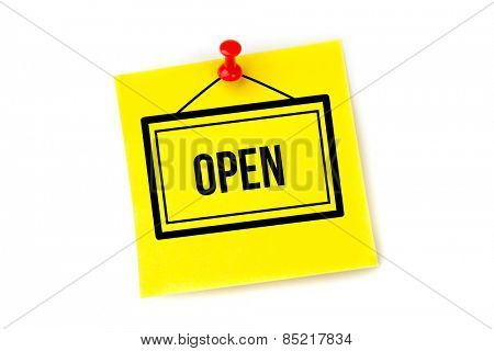 Open sign against pinned adhesive note