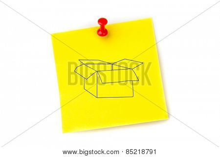 Open box against pinned adhesive note
