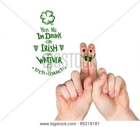 Patricks Day fingers against patricks day greeting