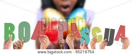 Composite image of hands holding up boa pasqua