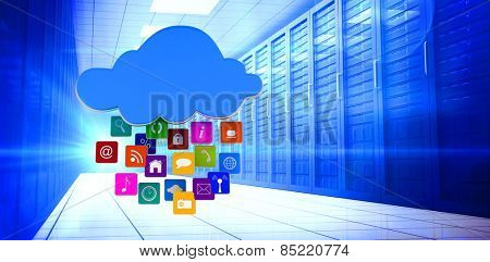 Cloud with apps against server room with towers