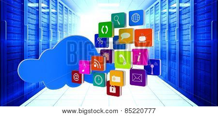 Cloud with apps against digitally generated server room with towers